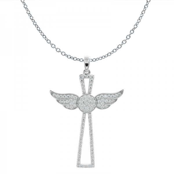 925 Silver Wing Cross Angel Pendant For Ladies