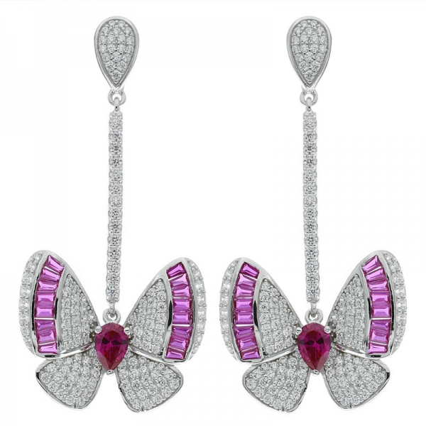 Fancy 925 Sterling Silver Butterfly Drop Jewelry Earrings