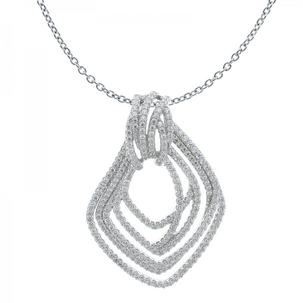 Fancy 925 Sterling Silver Multi Lines Pendant With Clear Stones