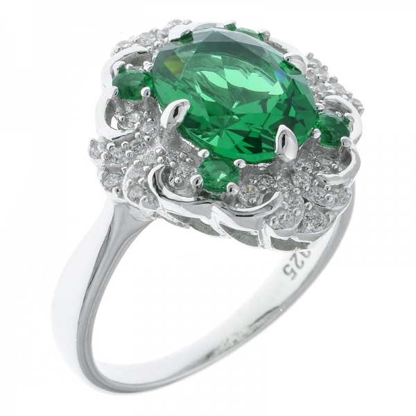 925 Sterling Silver Four Prong Set Filigree Green Nano Ring
