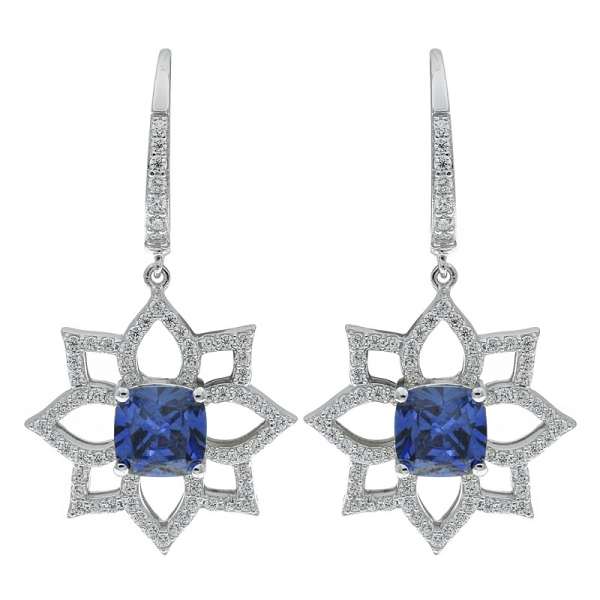925 Sterling Silver Open Flower Earrings Jewelry With Tanzanite CZ