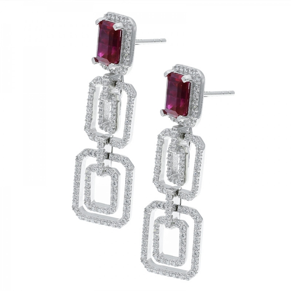 925 Sterling Silver Double Rectangle Moving Earrings Jewelry