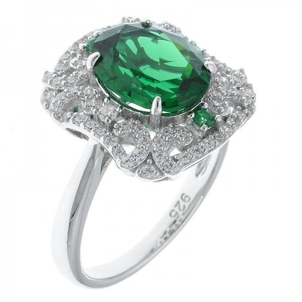 925 Sterling Silver Rhodium Plated Filigree Ring With Green Nano