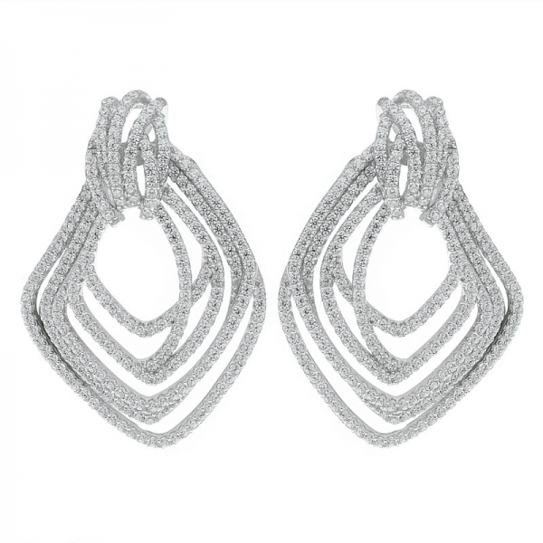 925 Sterling Silver Multi Lines Jewelry Earrings For Ladies
