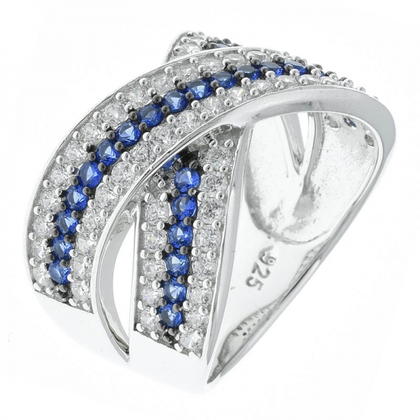 925 Sterling Silver Criss Cross Jewelry Ring With Blue Nano