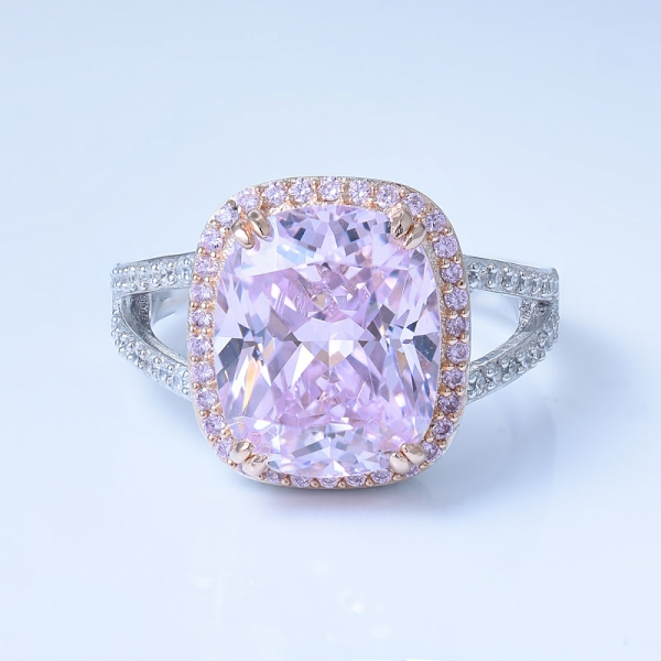 925 Sterling Silver Halo Diamond Pink CZ Ring With Split Shank