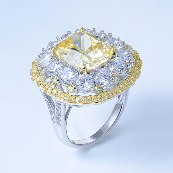 925 Sterling Silver Double Halo Flower Ring With Diamond Yellow CZ
