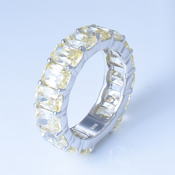 925 Sterling Silver Eternity Jewelry Ring With Diamond Yellow CZ
