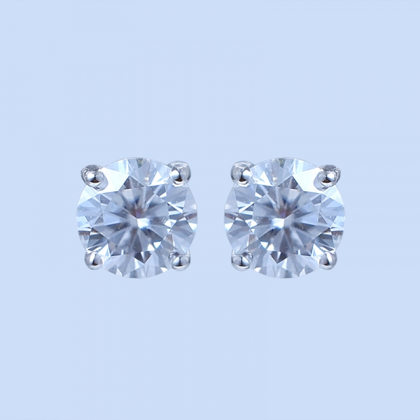 925 Sterling Silver Unique Solitaire Diamond Earrings Stud