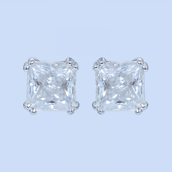 925 Sterling Silver Solitaire Square Diamond Earrings Stud