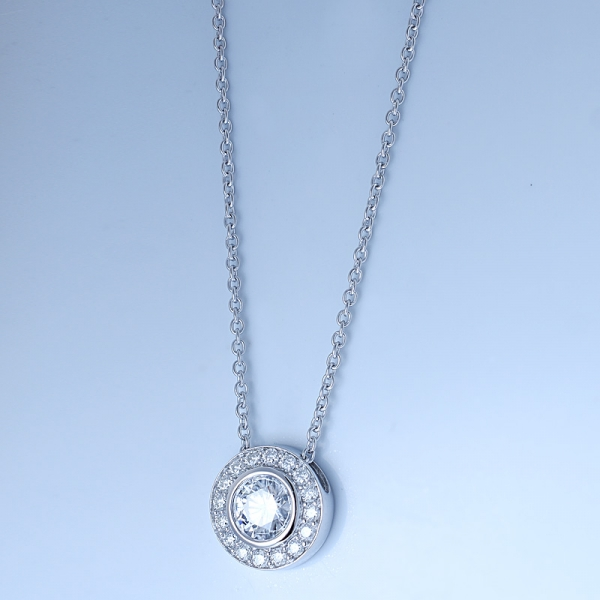 925 Sterling Silver Halo Bridal Jewelry Necklace