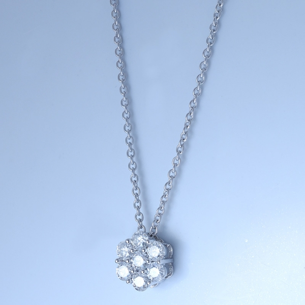 925 Sterling Silver Flower Bridal Jewelry Necklace