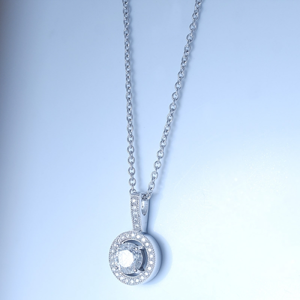 925 Sterling Silver Halo Pendant Necklace For Women