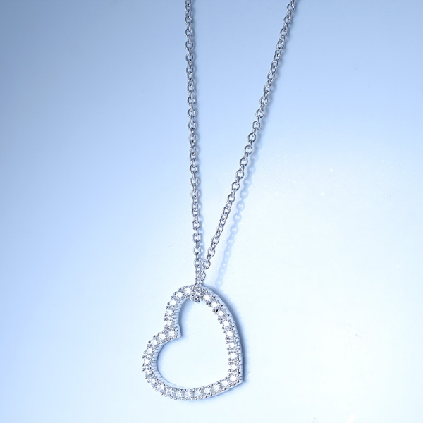 925 Sterling Silver Open Heart Shape Necklace