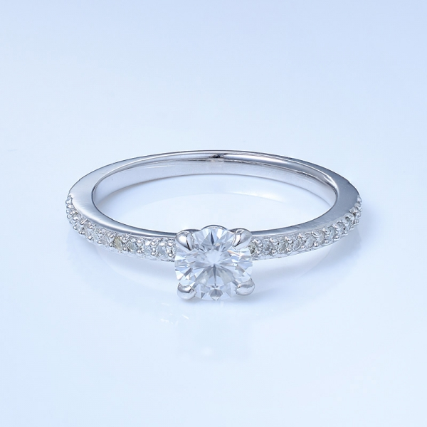 925 Sterling Silver Pave Engagement Ring For Women
