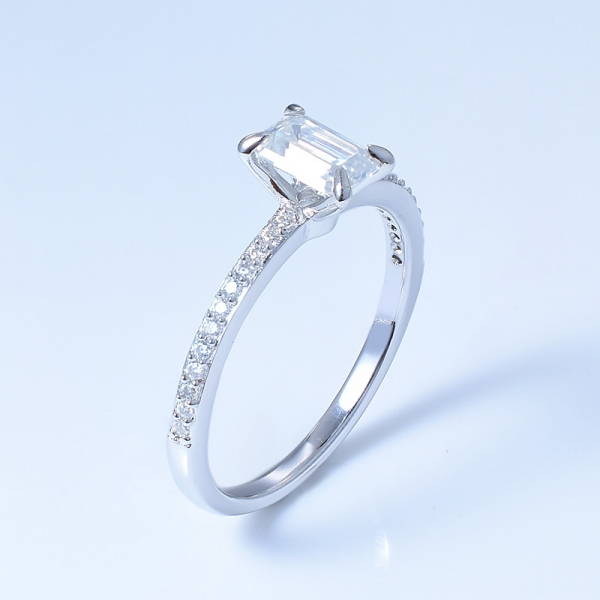 925 Sterling Silver Pave Engagement Ring With Emerald Cut White CZ
