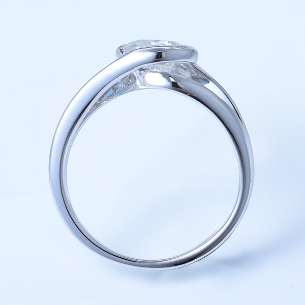 925 Sterling Silver Bypass Engagement Ring Jewelry