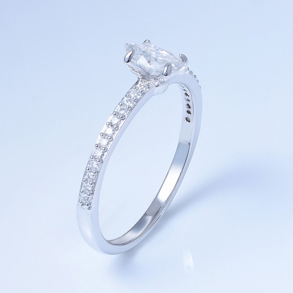 925 Sterling Silver Pave Ring With Marquise Shape White CZ