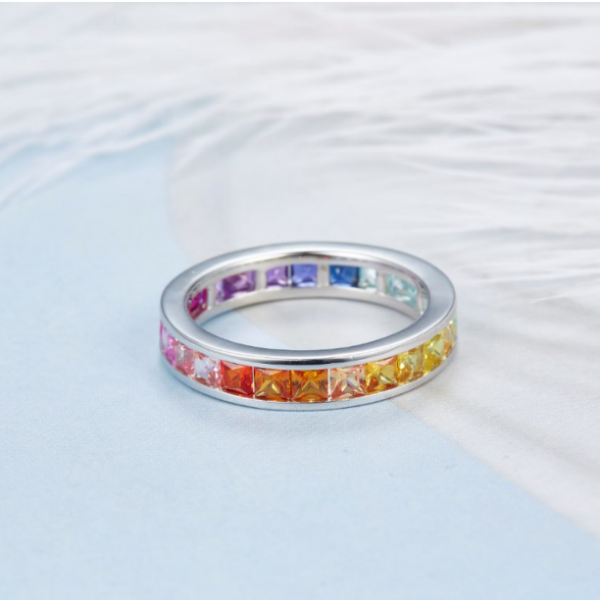 925 Sterling Silver Eternity Square Shape rainbow Ring Jewelry