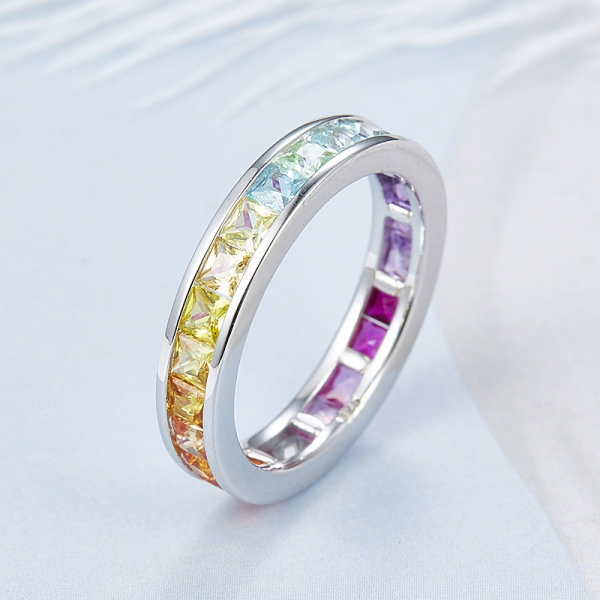 Wholesale 925 Sterling silver princess cut rainbow color ring settings for women
