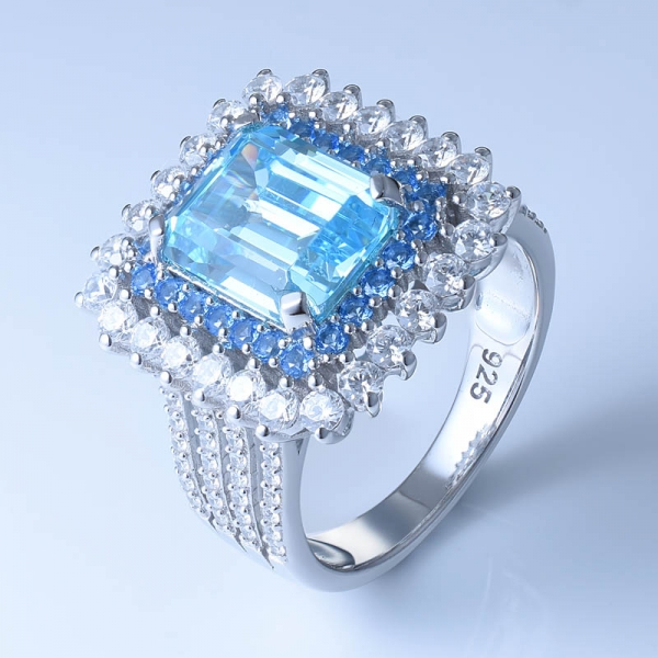 925 Sterling Silver Ring With Luxurious Aqua CZ For Women