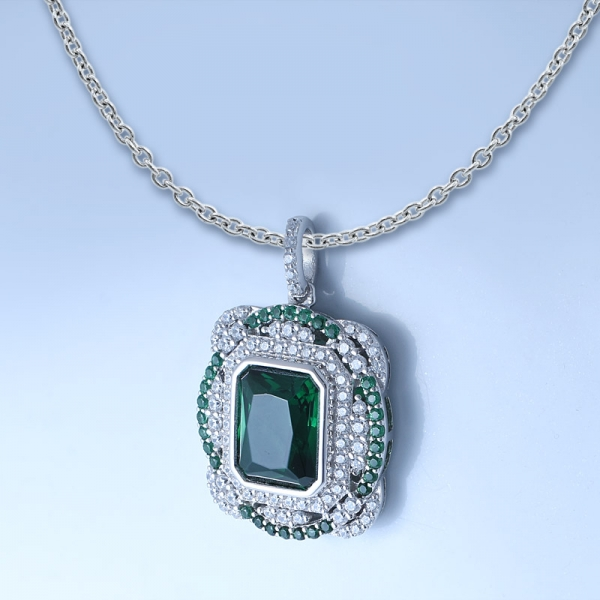 925 Sterling Silver Classical Pendant With Clear Green Nano/ Diamond Pink CZ