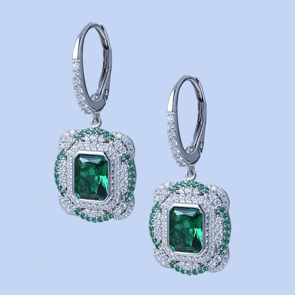 925 Sterling Silver Classical Earrings With Clear Green Nano/Diamond Pink CZ