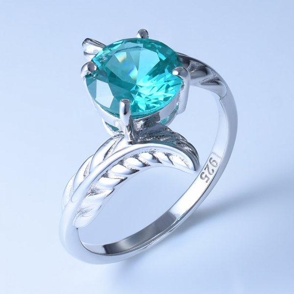 925 Sterling Silver Lovely Leaf Shaped Ring Setting With Paraiba YAG