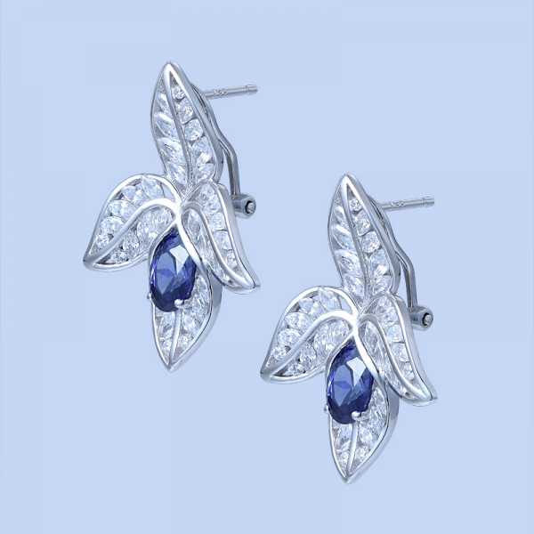 925 Sterling Silver Four-Leaf Combination Shape Earrings With Tanzanite CZ