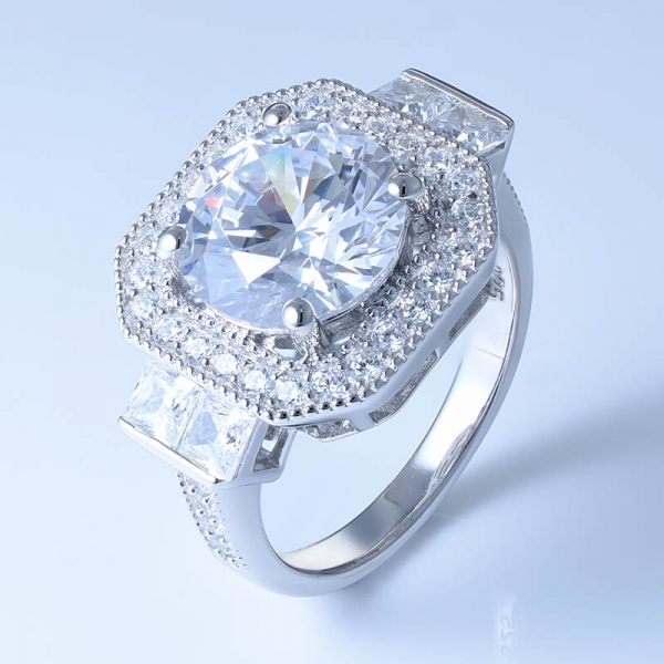 925 Sterling Silver Classical Ring Setting With White CZ