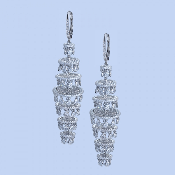 925 Sterling Silver Multilevel Dangle Earrings With White CZ
