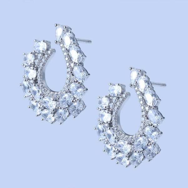 925 Sterling Silver Hoop Earrings With Brilliant White CZ
