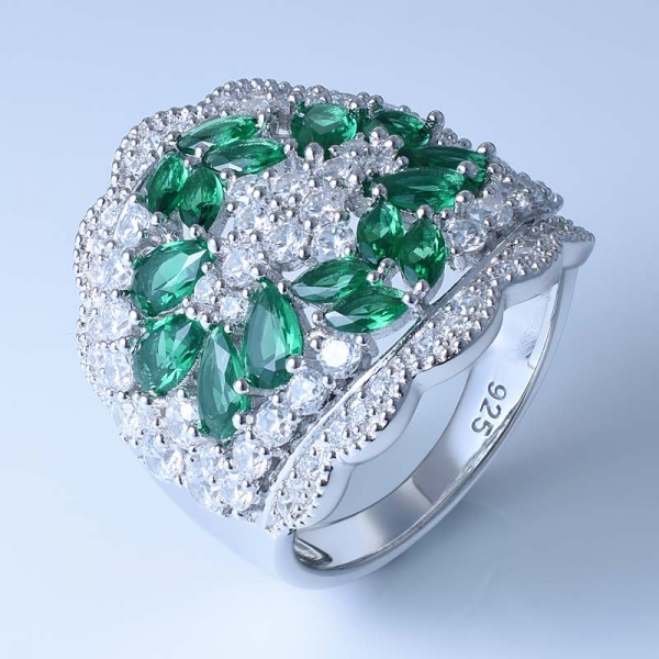 925 Sterling Silver Fashion Women Ring With Green Nano