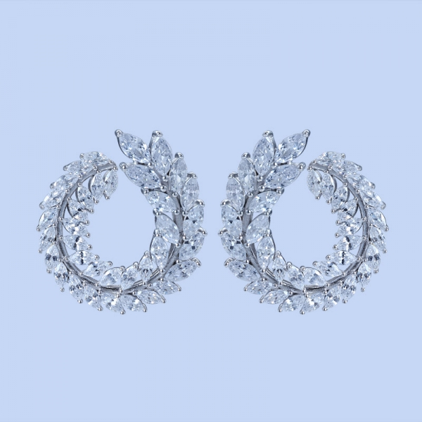 925 Sterling Silver Hoop Earrings With White CZ
