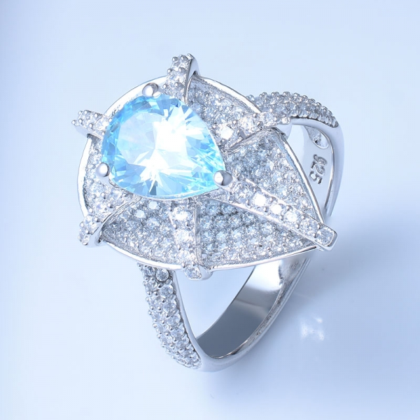 925 Sterling Silver Pear Ring With Aqua CZ