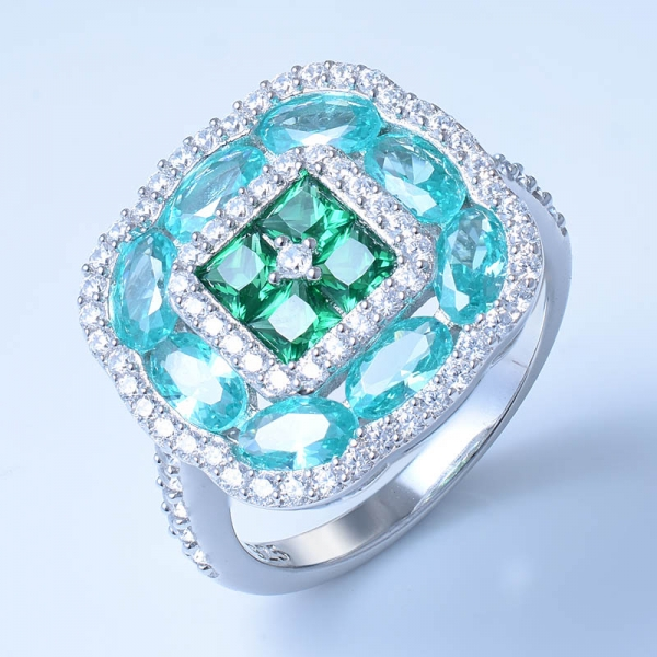 925 Sterling Silver Paraiba YAG & Red Corundum Ring