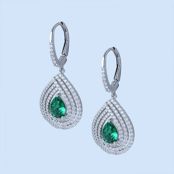 Pear Cut Emerald Green Rhodium Over Sterling Silver ladies earrings