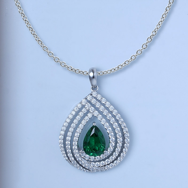 Pear Cut Emerald Green Rhodium Over Sterling Silver match pendant set jewelry