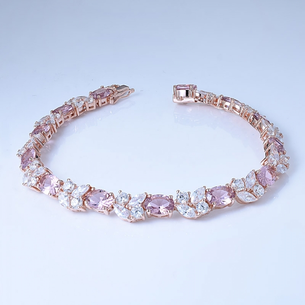 Simulate Pink Morganite& Marquise White CZ Rose Gold Over Silver Jewelry Order Bracelets From China