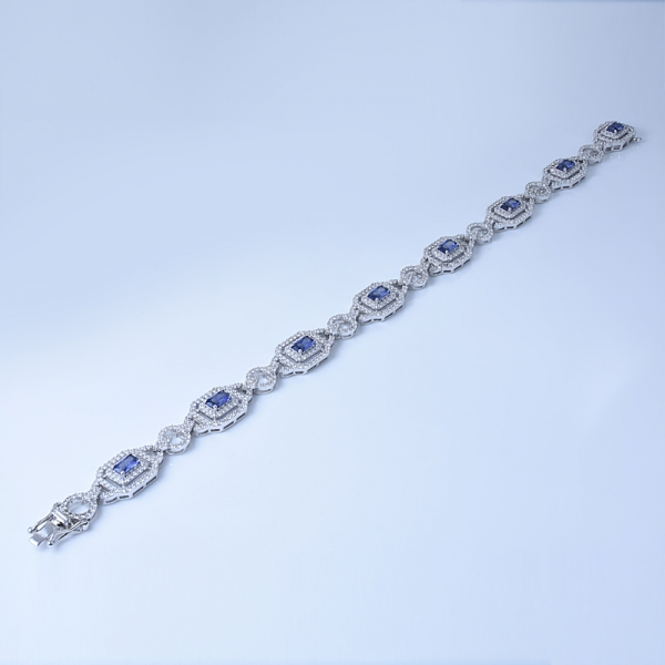 Created Princess Blue Tanzanite 925 Sterling Silver Bracelet for Women Exclusively Handcrafted