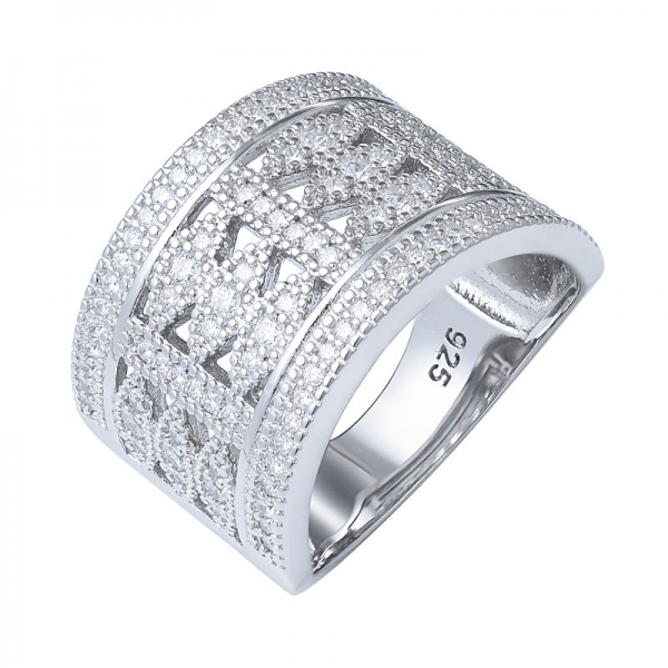 Best Selling 925 Sterling Silver Micro Pave CZ Jewelry Zircon Big Large Wide Ring For Women