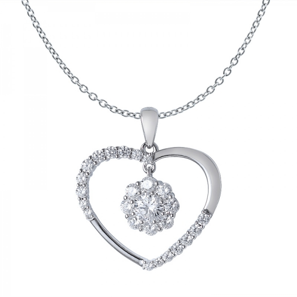 50 Cents White CZ rhodium over sterling silver Heart shape pendant