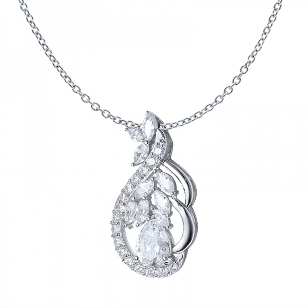 Pear Cut White CZ rhodium over sterling silver pendant